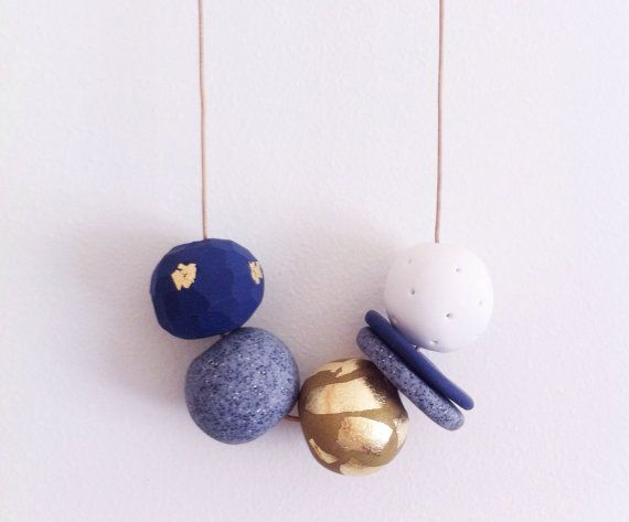 Clarice Moonlight Handmade polymerclay necklace by onthedotdesign