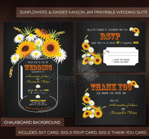 #Sunflower #Mason #Jar #Chalkboard or #Wood #Floral #Rustic Wedding Suite - #PRINTABLE #DIY #Wedding #Invitation, RSVP & Thank You Card by Ruxique