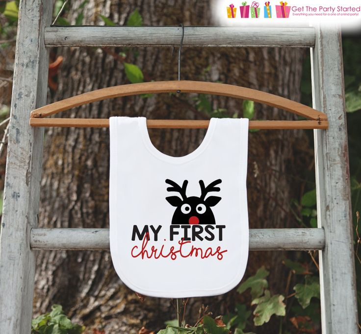 Reindeer Bib for Baby - Christmas Bib - First Christmas Dinner Bib - Winter Holiday Bib for Baby Boy or Baby Girl - Christmas Gift For Baby