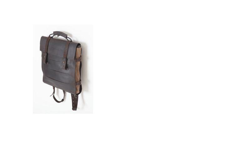 Jo Handbags - Schoolboy taske. Espresso/ Wax canvas.