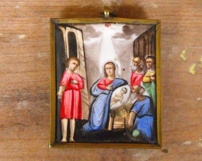 Antique Hand Painted Enamel Miniature Russian Finift, Russian Icon Nativity Scene Finift,Russian Porcelain Enamel Icon,Orthodox Finift Icon