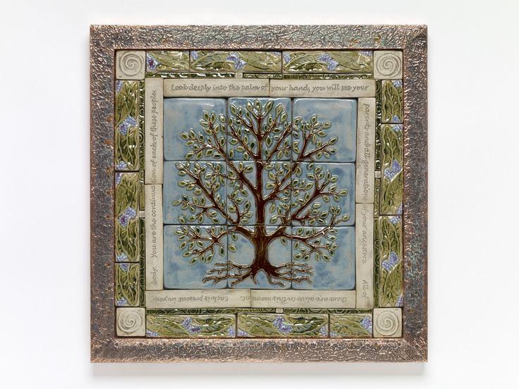 Handmade Ceramic Tile Tree Of Life Tile Mural By