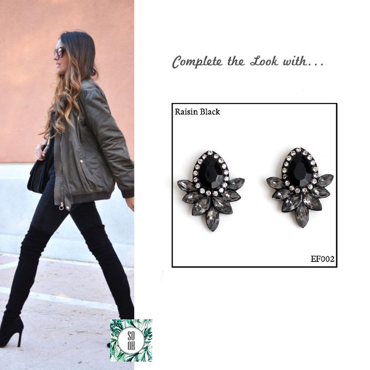 Ref: EF002 Raisin Black Medidas: 3.5 cm x 2.5 cm So Oh: 6.99  #sooh_store #onlinestore #style #inspiration #styleinspiration #brincos #earrings #fashion #shoponline #aw2016 #aw1617 #winterstyle