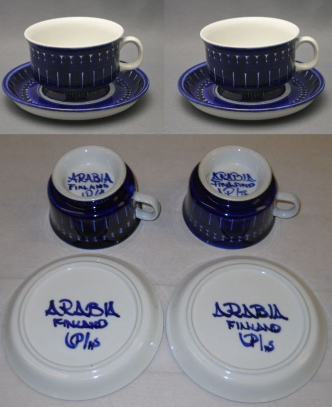 Valencia Arabia Mocca Cups And Saucers Hand Painting Sign Ulla Procope Finland