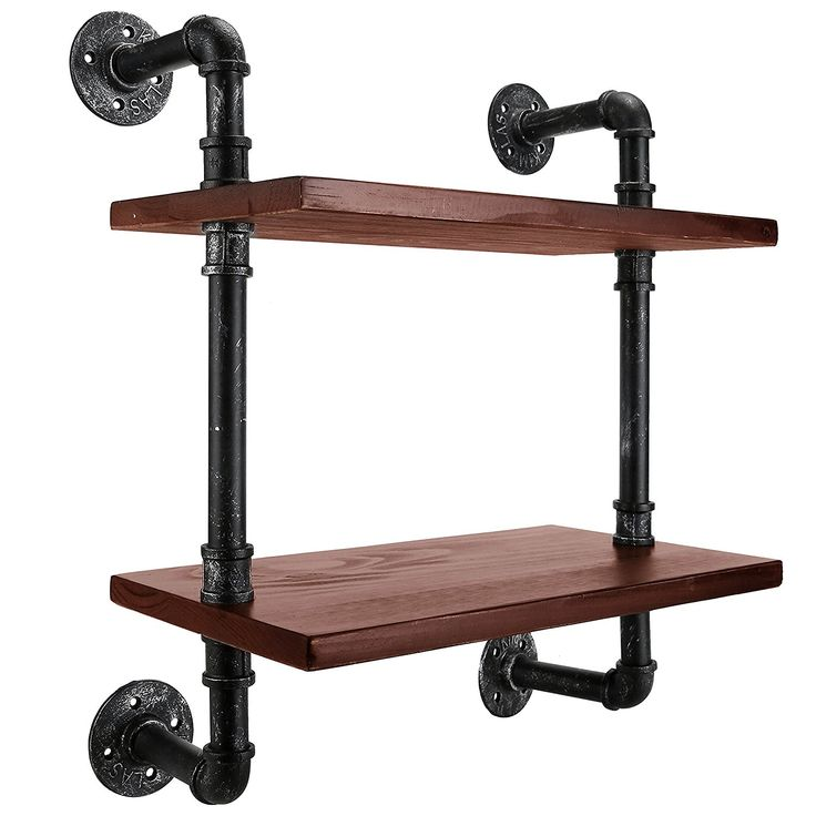 MyGift 2 Tier Floating Shelves, Industrial Pipe Design Hanging Shelf Rack, Brown >>> You can find more details by visiting the image link. (This is an affiliate link) #FloatingShelves