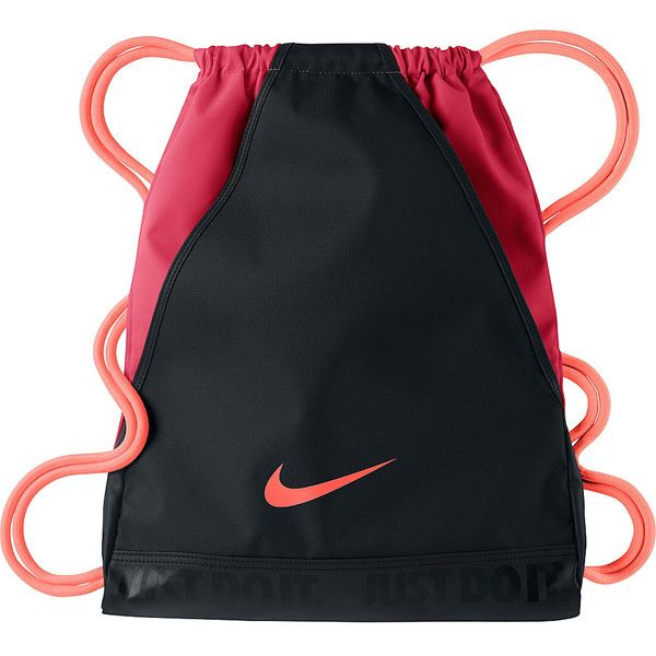 Nike Varsity Gymsack Sack Pack ($20) ❤ liked on Polyvore featuring bags, backpacks, black, school & day hiking backpacks, nike, backpacks bags, nike backpack, day pack backpack and water resistant bag