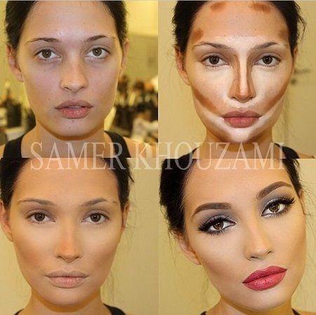 Contouring & Highlighting - #makeuptrick #makeuptiop #contour #makeuptransformation - Love beauty? Go to bellashoot.com for beauty inspiration!