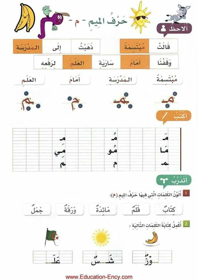حرف الميم Learn Arabic Alphabet Arabic Alphabet For Kids Arabic Alphabet Letters