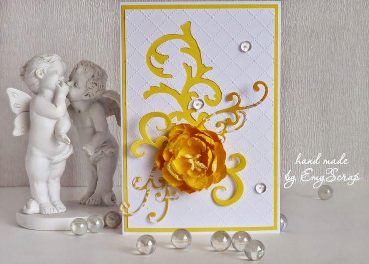 открытка с желтым цветком