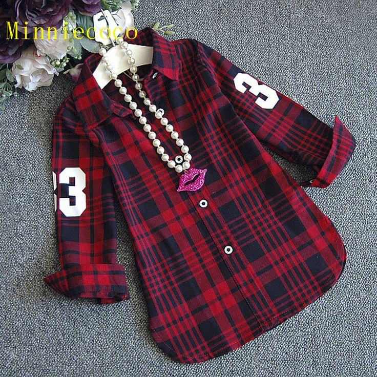 Девушка блузка осень одежда Полосатый Клетчатую рубашку девочка одежды девушки длинные рукава топ красный клетчатую рубашку детская одежда
