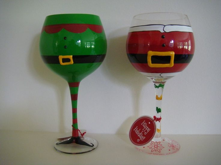 114 best glass painting inspiration images on pinterest for Hand painted wine glass christmas designs