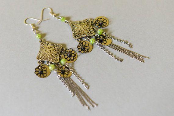 Boucles d'oreilles Ethniques Egypte Argent et Vert par OdyDonc