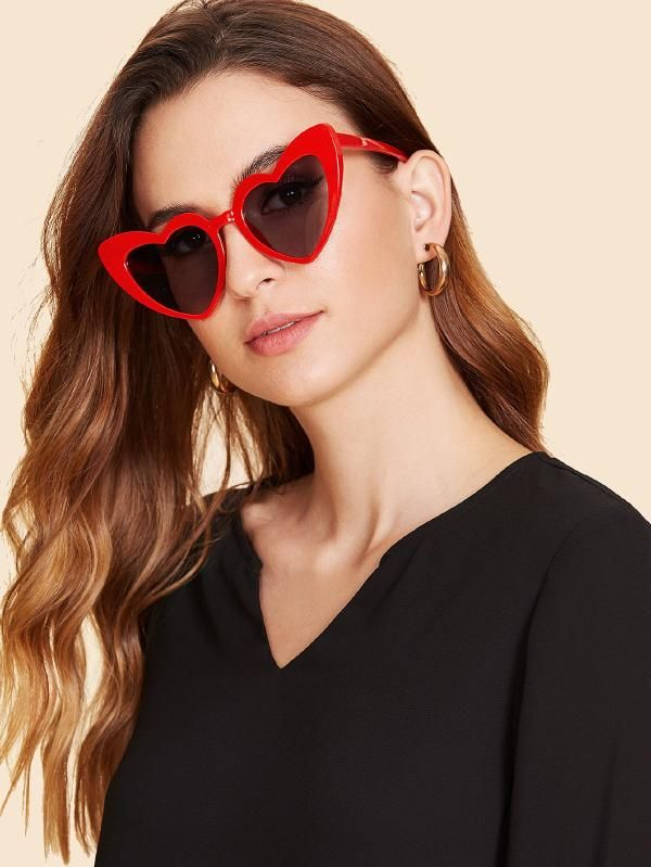 1d151294cfa Heart Shaped Frame Sunglasses -SheIn(Sheinside)