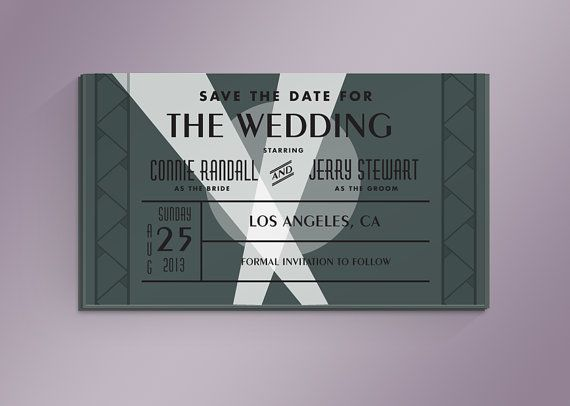 Diy old hollywood movie ticket save the date card by for Film premiere invitation template