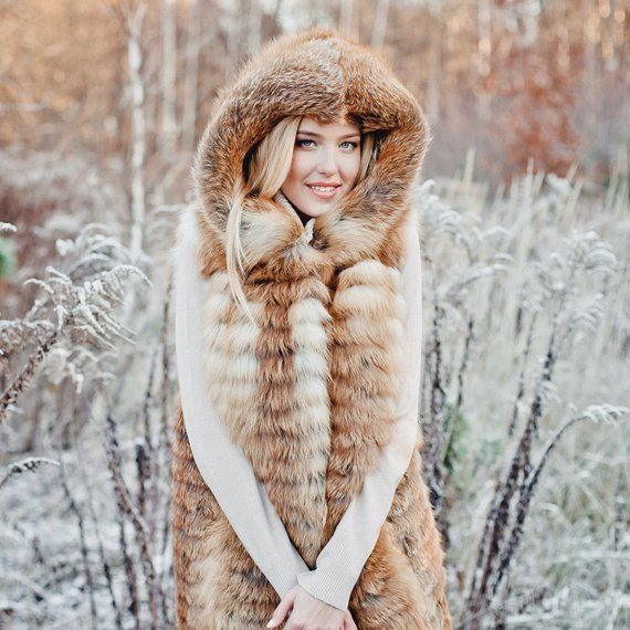 Long red real fox fur vest with a hood for women Fur outerwear jacket Luxury gift for wife