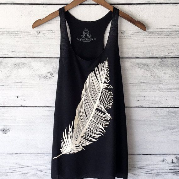 Feather Tank Top Graphic Shirt in Black Women's door BittersweetUSA