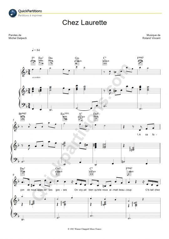 Partition Piano Chez Laurette - Michel Delpech