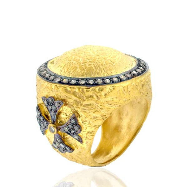 Diamond 14k Yellow Gold 925 Silver Handmade Ring Ethnic Style Jewelry Size 7.5