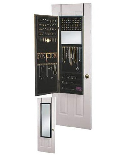 Jewellery box behind a mirror to hang to a door, amazing idea for small space flat.  Via Wayfair.com