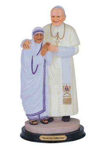 12 Inch Mother Teresa of Calcuta w/ Pope John Paul 2 Virgen de Statue Madre