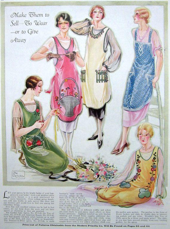 Vintage Apron Pattern Fashion Illustration Pretty aprons to wear when company arrives.