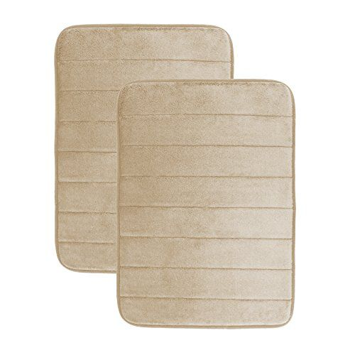 Luxor Linens Luxury Quick Dry Memory Foam Bath Mat Beige 2 Piece Set____. Microdry, Anti Slip…