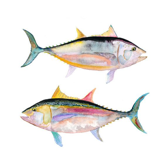 Watercolor Fish Print. Watercolor Tuna Fish. door SnoogsAndWilde