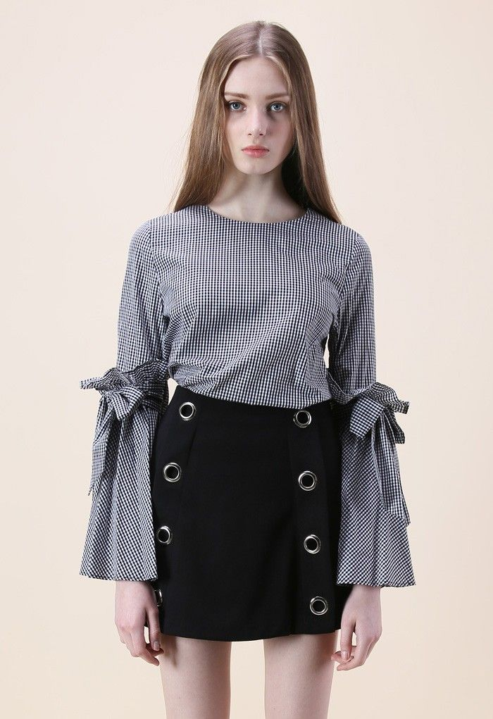 Gingham Charisma Top with Bell Sleeves - Retro, Indie and Unique Fashion