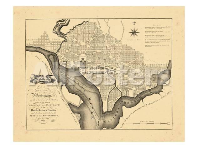 1795 Washington Dc Travel Giclee Print 61 X 46 Cm Map Print