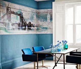 dazzling blue dining room