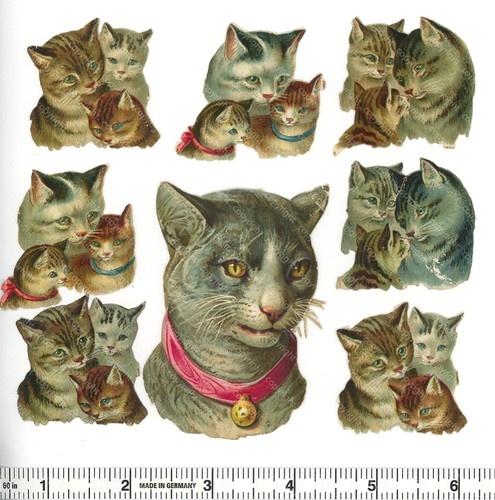 Victorian Die Cut Scraps Chromos Découpis Glanzbilder Oblaten Cats   eBay