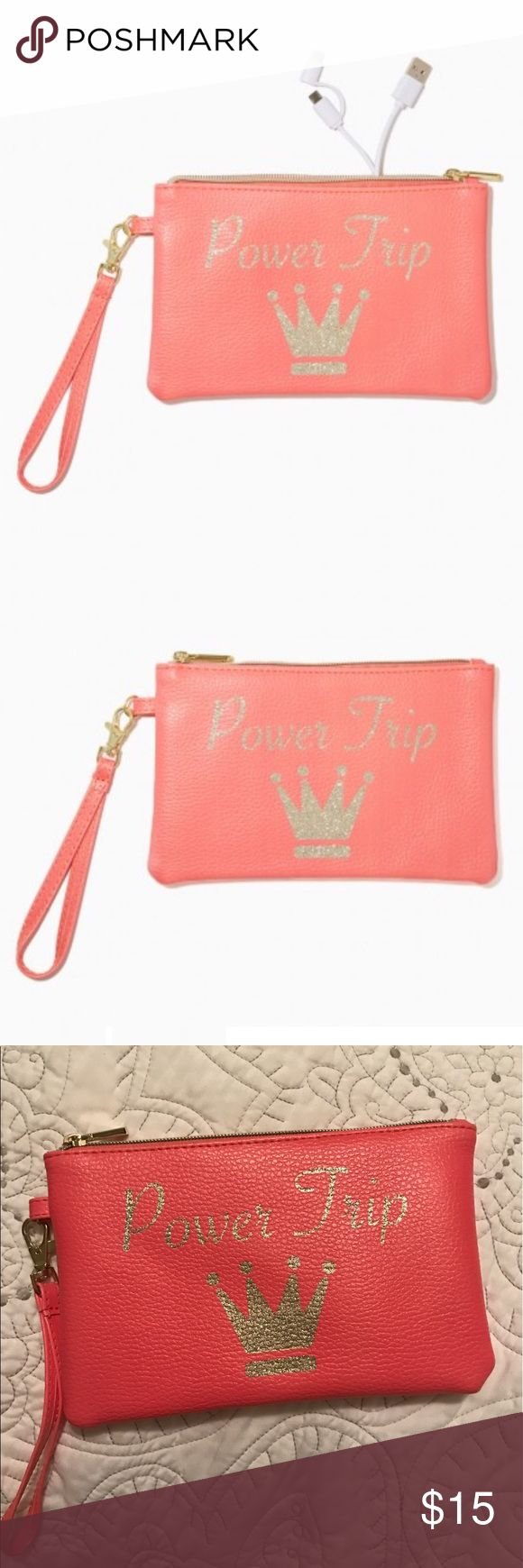 """Power Trip"" 👑 Portable Charging Wristlet This is the perfect on the go charger! Adapts to both iPhone and Android phones! Charming Charlie Bags Clutches & Wristlets"