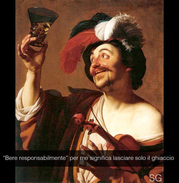 "Gerrit van Honthorst . "" Il violinista col bicchiere """