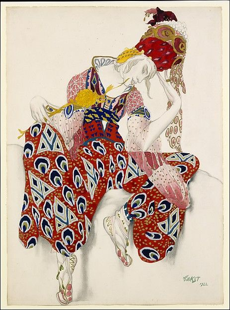 "Leon Bakst (Russian 1866-1924). Costume study for Vaslav Nijinsky in the role of Iksender in the ballet ""La Péri"", 1922. The Metropolitan Museum of Art, New York. Gift of Sir Joseph Duveen, 1922 (22.226.1) #halloween #costume"