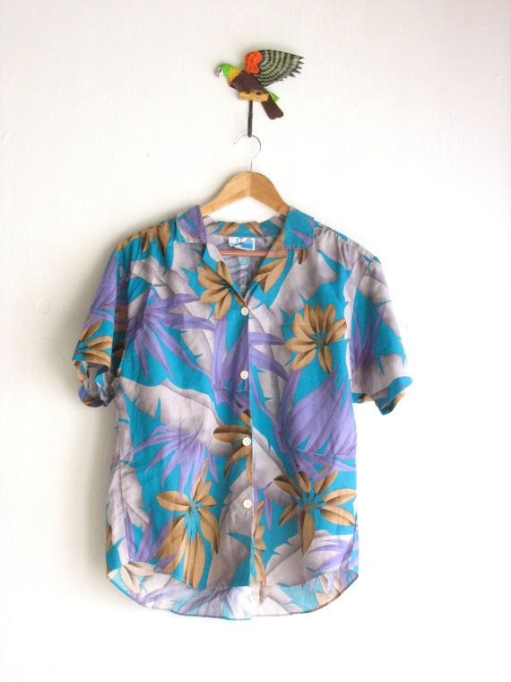 Vintage tropical floral boxy slouchy shirt. 90's