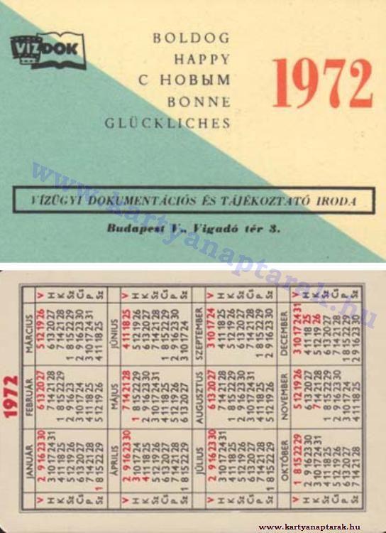 1972 - 1972_0618 - Régi magyar kártyanaptárak