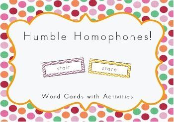 This pack contains 56 pairs of homophones, activity cards, 8 bingo cards and an answer sheet.For more vocabulary activities, including synonyms, adjectives and verbs, visit my store!Happy teaching!