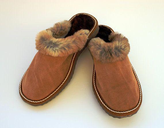 Chaussons en cuir brun avec moutons peau chamoisée et par lefushop