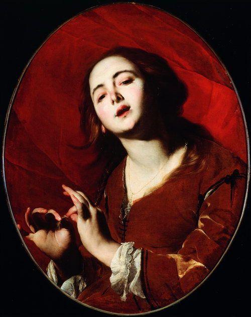 Bernardo Cavallino (1616-1656), La cantatrice, olio su tela, 75  x  64  cm, Museo Nazionale di Capodimonte, Napoli
