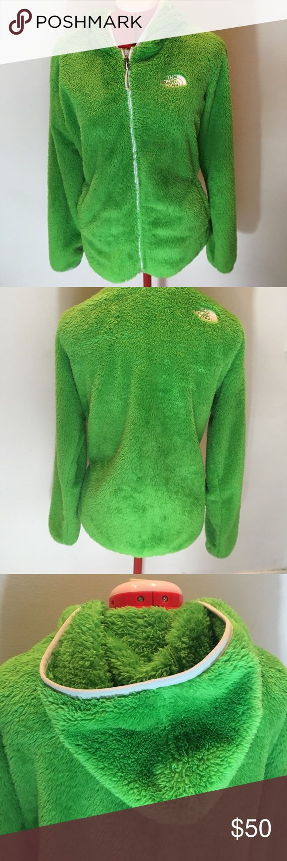 {{The North Face}} Woman's green zip up hoodie Authentic  The North Face XL Perfect condition  Soft & fuzzy The North Face Jackets & Coats