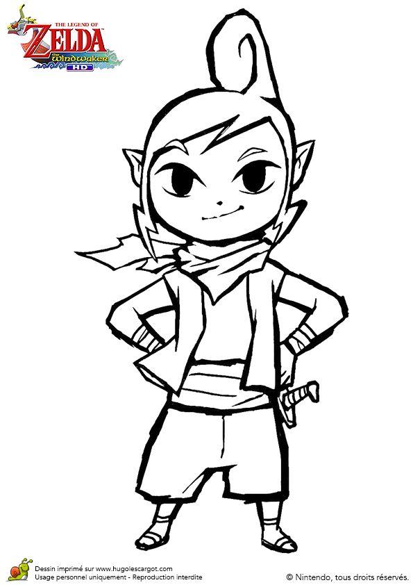 Image à colorier de Tetra, la jolie personnage dans le jeu Zelda.