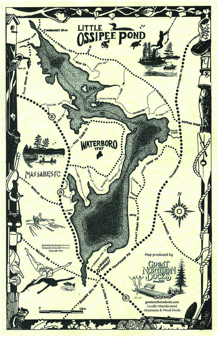 Maine lake maps illustrated by sam merriam composed by