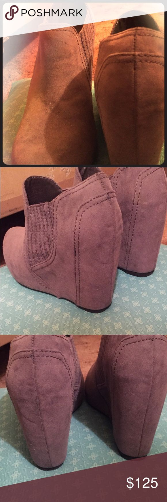 Women's Wedge Ankle Suede-like Stylish Booties Worn once. Not a fit for me.  Style is Downtown, an Urban Chic look!  They're fresh, cute and so stylish - for a woman wanting to make a cool statement. Date night, any night or day, have fun and be bold in these BOOTIES! Fergalicious Shoes Ankle Boots & Booties