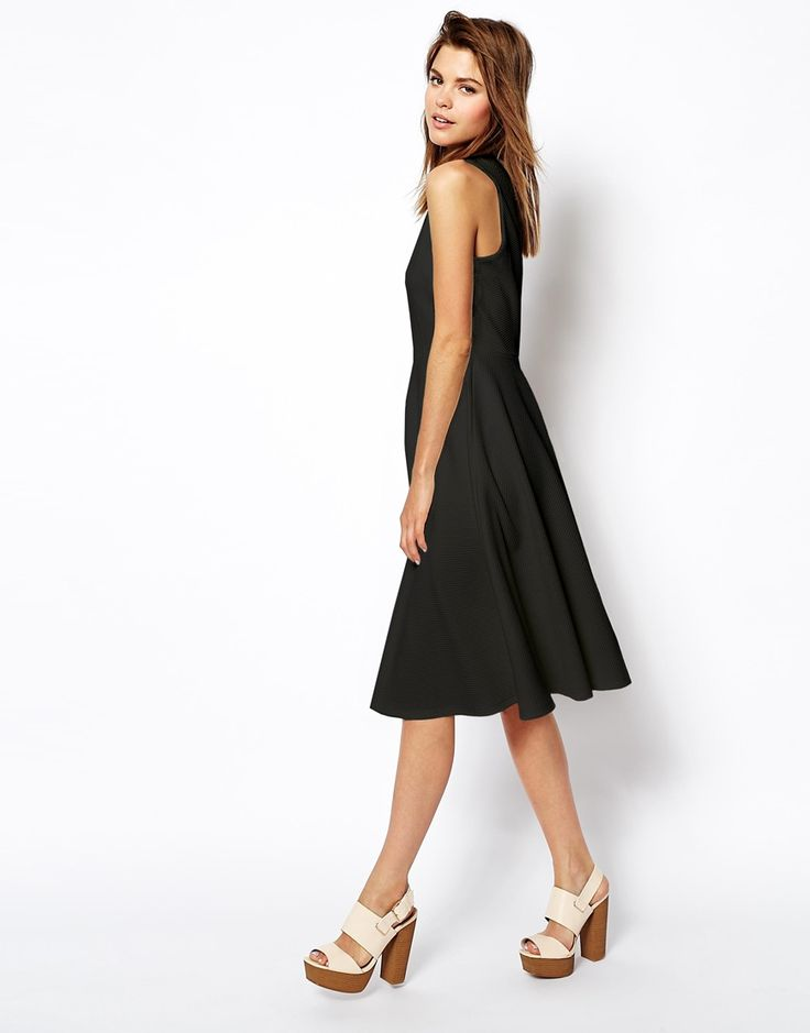 ASOS Midi Skater Dress in Texture with High Neck