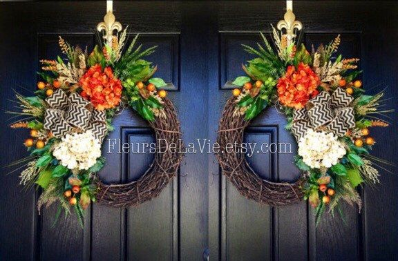NEW! Door Wreaths, Fall Wreath for Door, Monogram Wreaths, Double Door Wreaths, Grapevine Wreath, House Warming Gift, Door Decor by FleursDeLaVie on Etsy https://www.etsy.com/listing/463422189/new-door-wreaths-fall-wreath-for-door