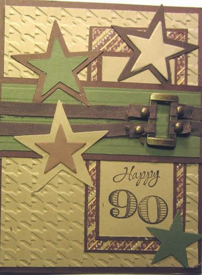 Crafty Maria's Stamping World: Happy Birthday for a 90 Year old make - card 2
