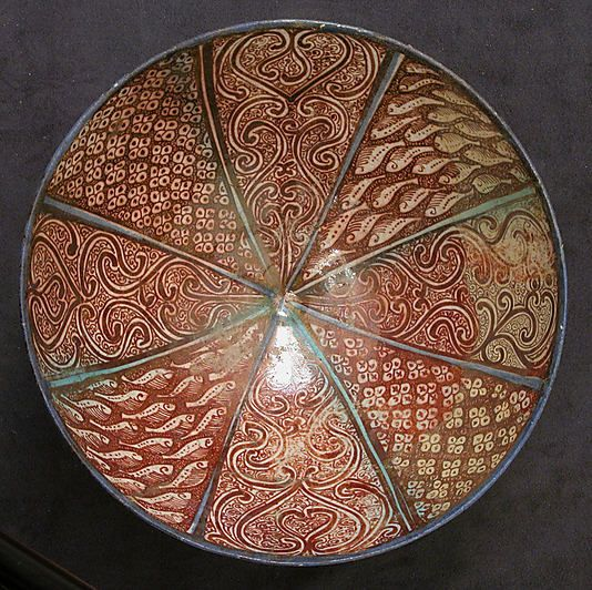 Stonepaste bowl. Islamic; Iran, Kashan, 13th c. Diam 22.5cm. Metropolitan Museum of Art.