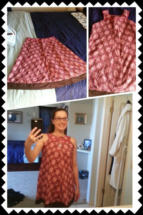 Refashioned skirt into a cute tank top...sorry about the mirror selfie.