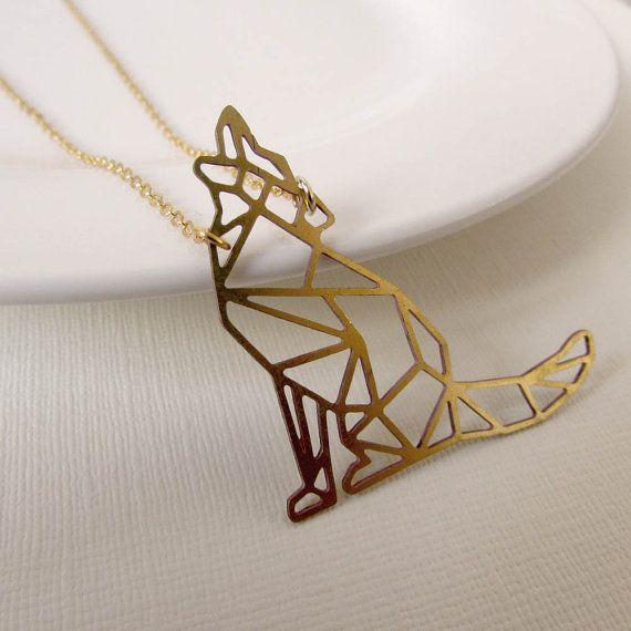 Wolf Halskette Vintage Halskette Wolf, geometrische Wolf Anhänger, geometrische Hund, Origami Wolf Halskette, Howling Wolf Necklace, Jahrgang Messing, Hund