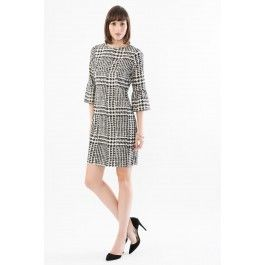 Glencheck Sheath Dress with Bell Sleeves
